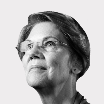 Black and white photograph of Elizabeth Warren