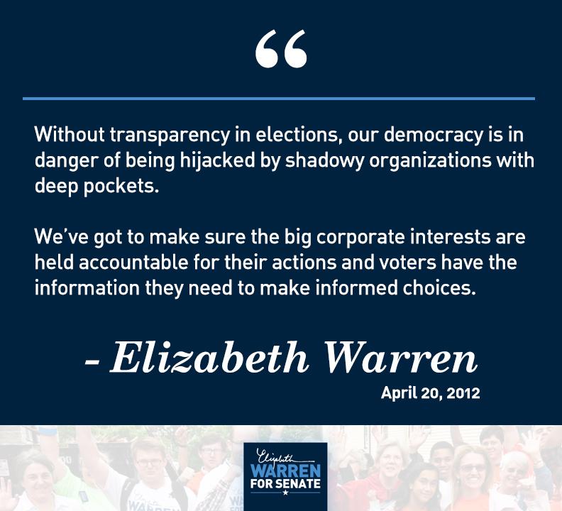 Elizabeth Warren - DISCLOSE Act