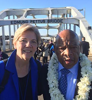 Elizabeth Warren and John Lewis - Selma Anniversary