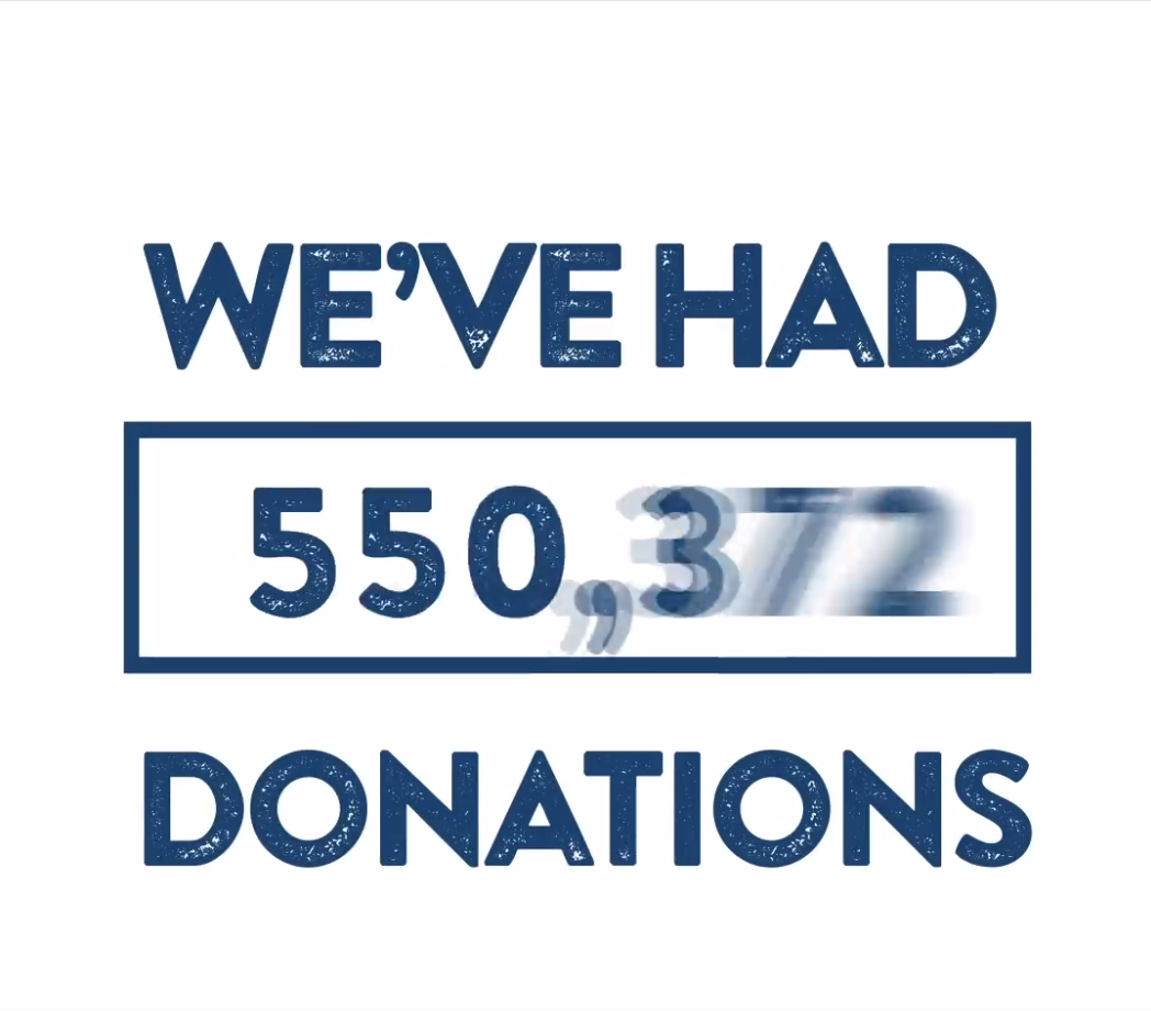 Graphic showing a counter of donations