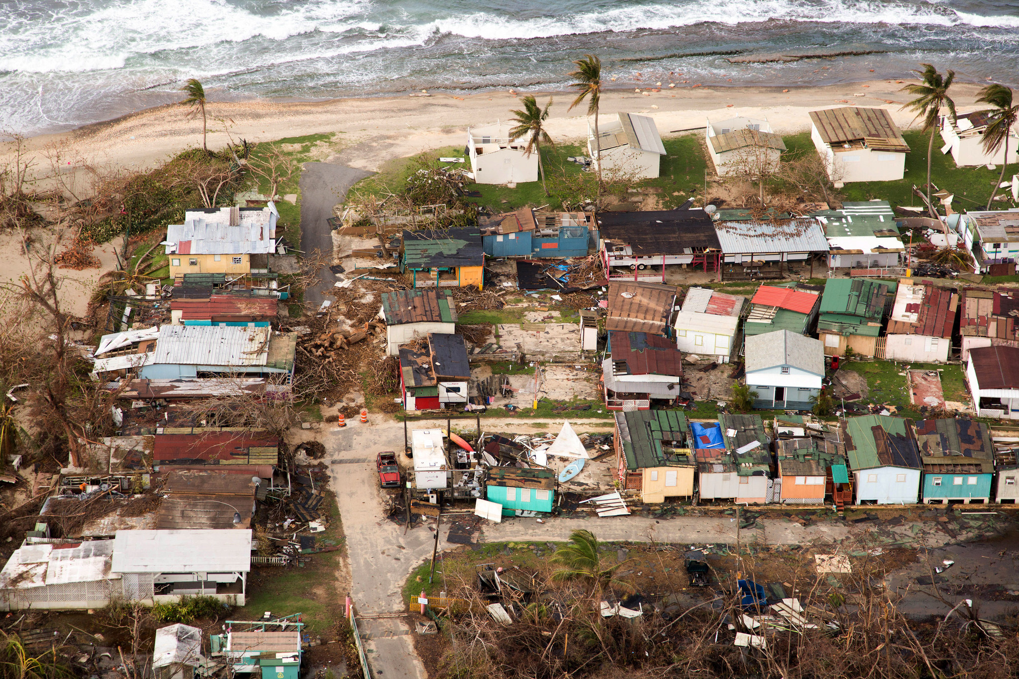 Aerial shot of Puerto Rico showing hurricane damage