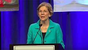 Elizabeth Warren speaking to the National Congress of American Indians