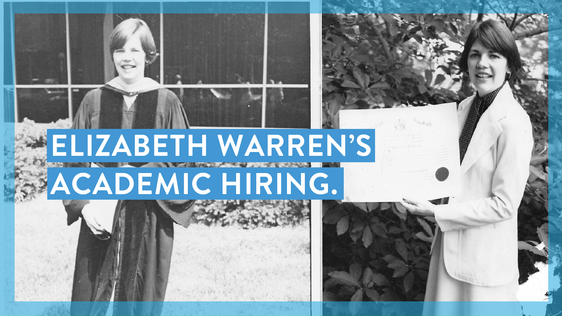 Two photos of Elizabeth Warren early in her academic career