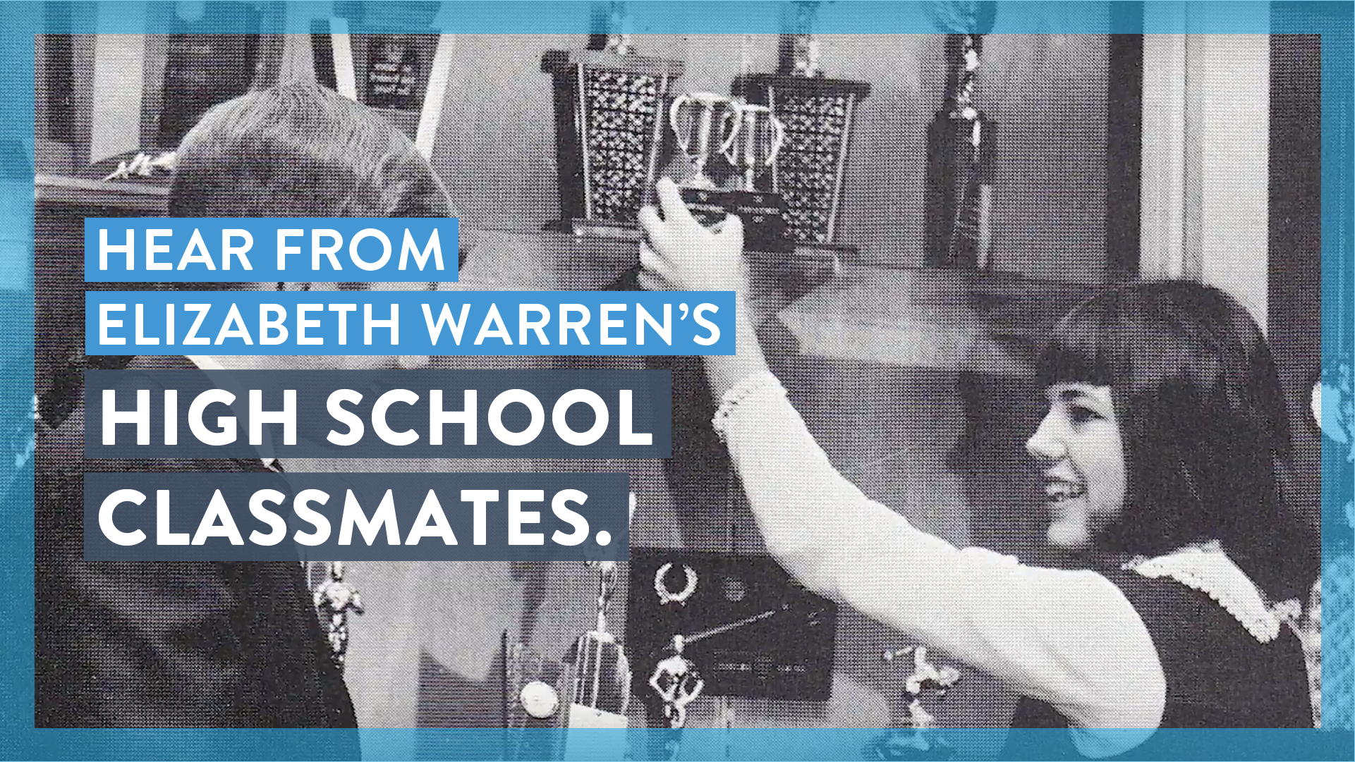 Elizabeth Warren in high school with a debate trophy