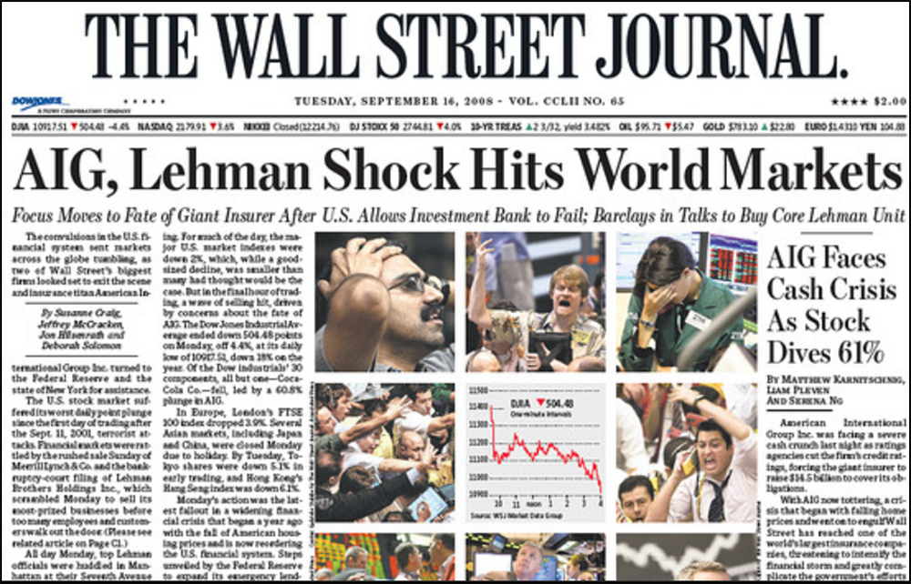 Front page of the Wall Street Journal on Tuesday, September 16, 2008 when the stock market crashed