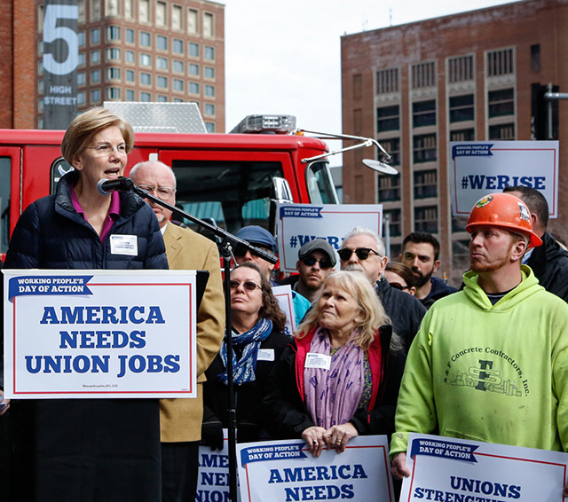 Elizabeth Warren speaking at the working people's day of action